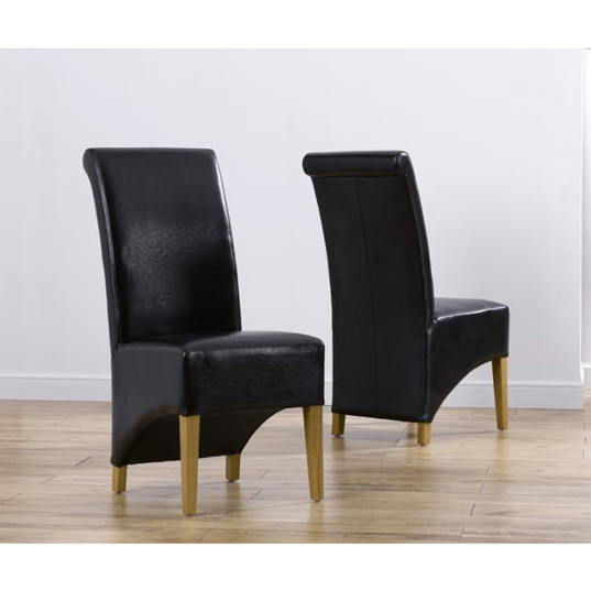 Faux Leather Dining Chairs pair – brown black grey & cream