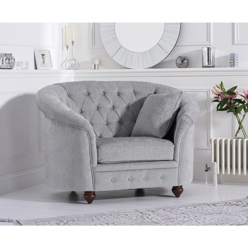 Emma Grey Plush Fabric Armchair