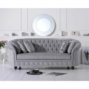 Emma Chesterfield Grey Three Seater Sofa