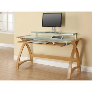 Curve desk oak with frosted glass 130 cm