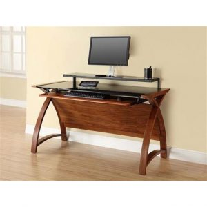 Curve desk walnut and black glass with modesty panel