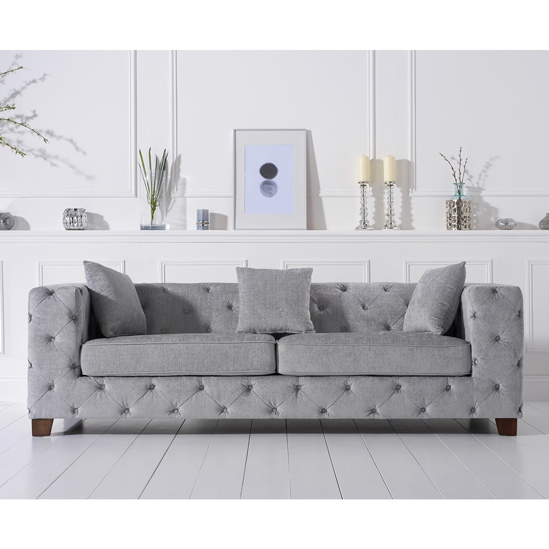 fordham chesterfield grey plush three seater sofa fads. Black Bedroom Furniture Sets. Home Design Ideas