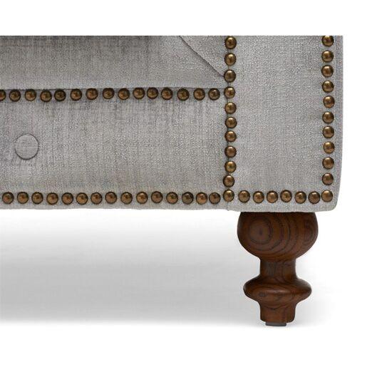 Juliette Grey Fabric 3 Seater Sofa Stud Detail