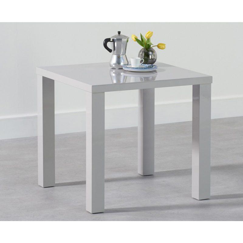 Luna 80 cm square gloss dining table light grey