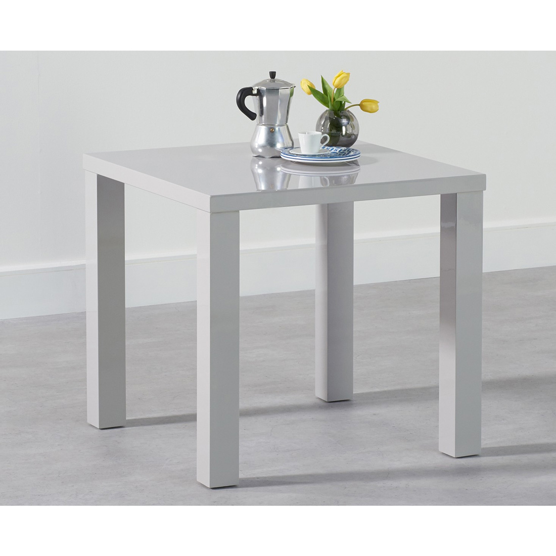 White High Gloss Coffee Table 85 Cm: Luna Square Gloss Dining Table Light Grey
