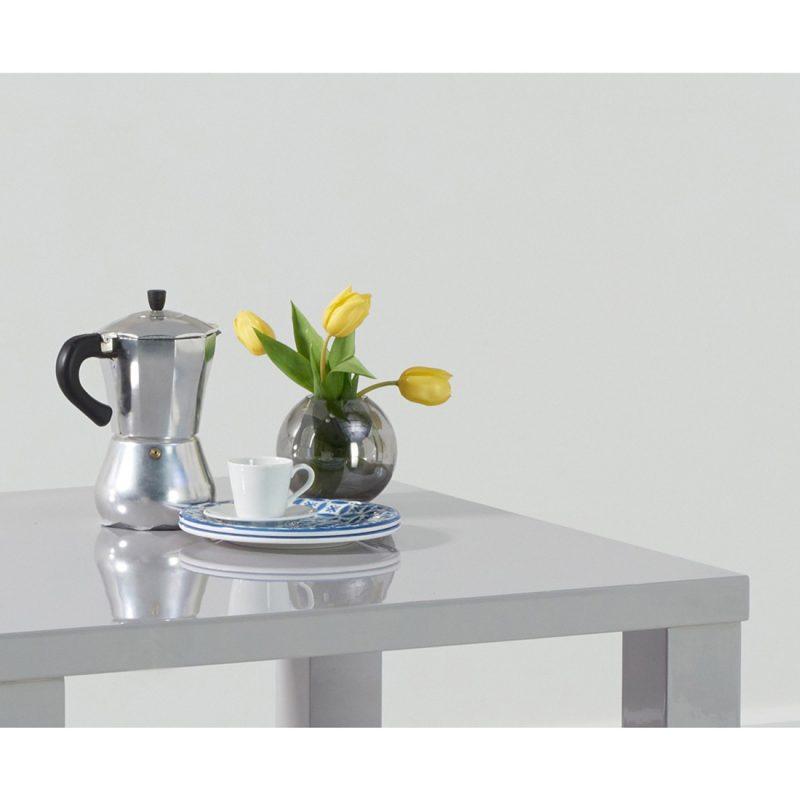 Luna 80 cm square gloss dining table light grey detail