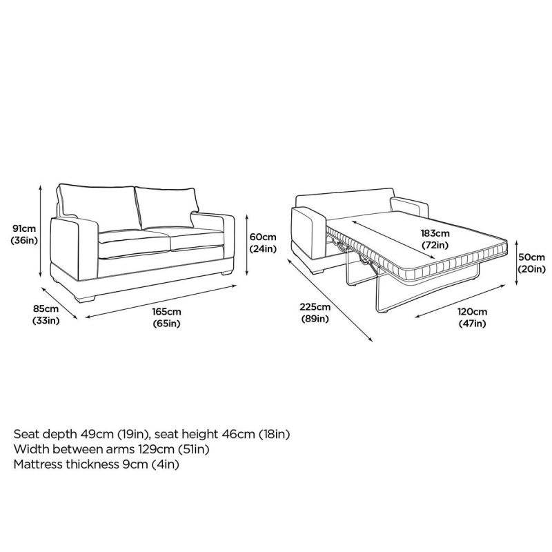 Modern Pocket Sofa Bed Dimensions