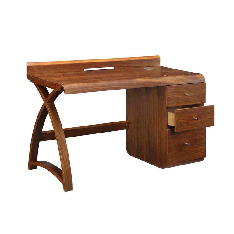 Santiago-Walnut-Pedestal-Desk-drawers-open