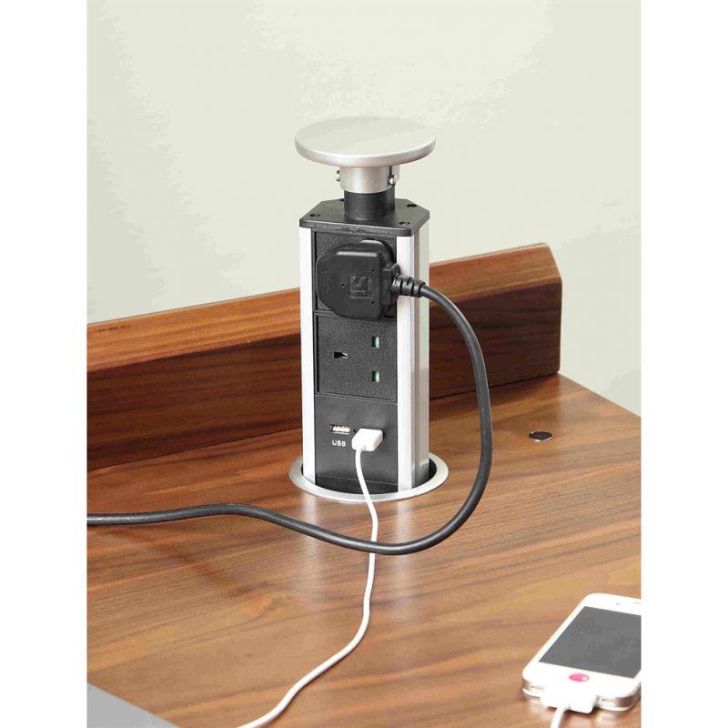 Santiago-Walnut-Pedestal-Desk-plug-sockets