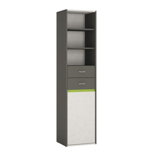 Space-tall-narrow-bookcase-grey-melamine-green-trim