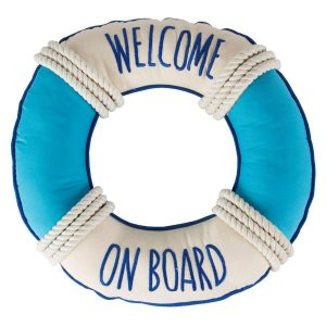 Welcome On Board Ring Nautical Cushion