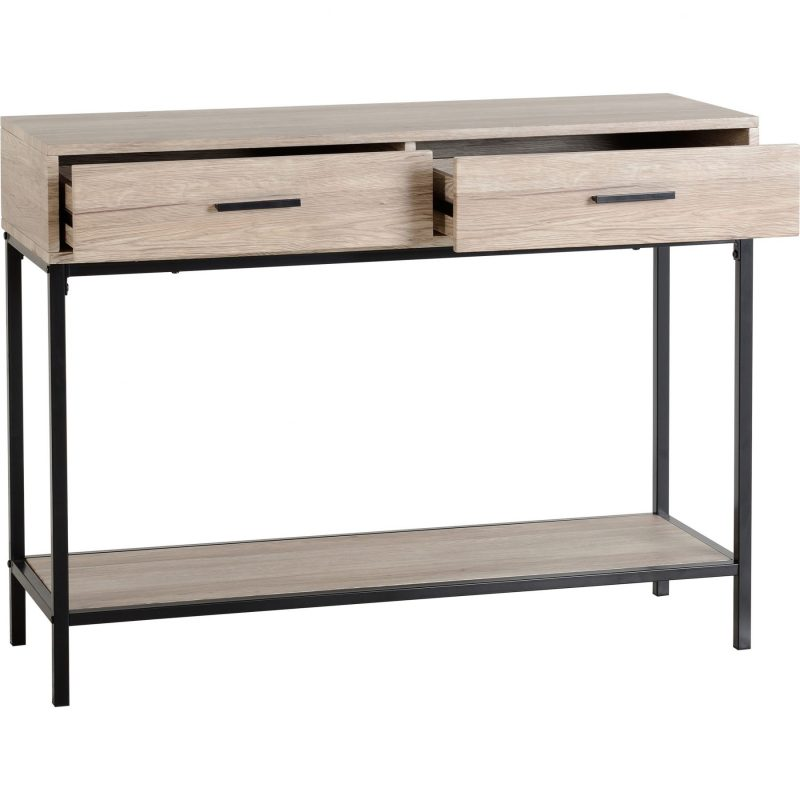 Warwick-console-table-oak-effect-drawer-open