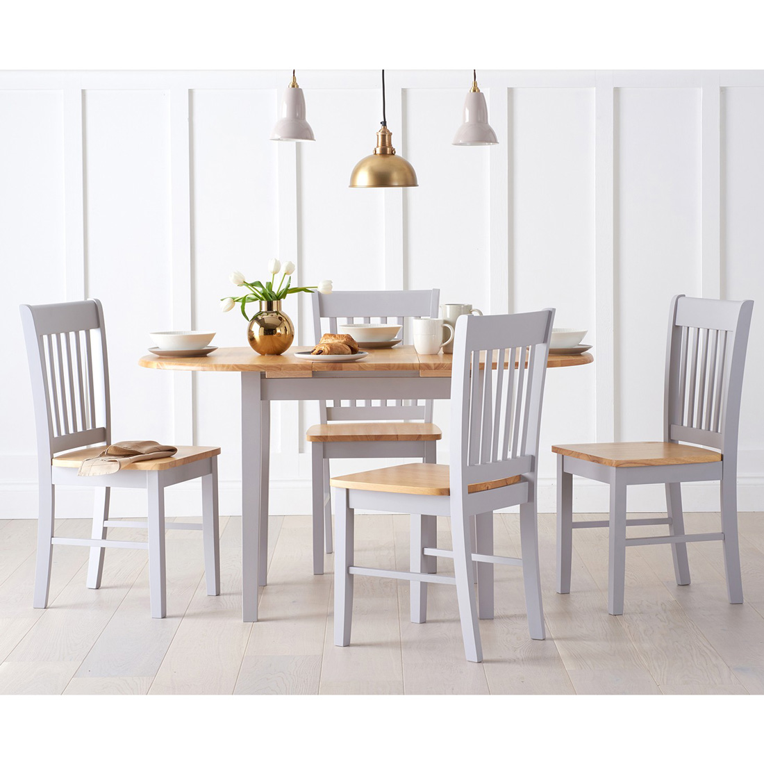 Adler Oak & Grey Dining Set with 4 Chairs