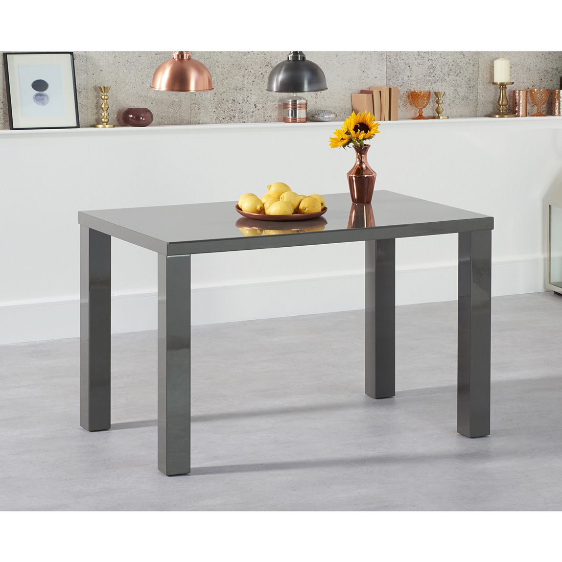 Luna Dark Grey Gloss Dining Table – Rectangular 120 – 200 cm Solid