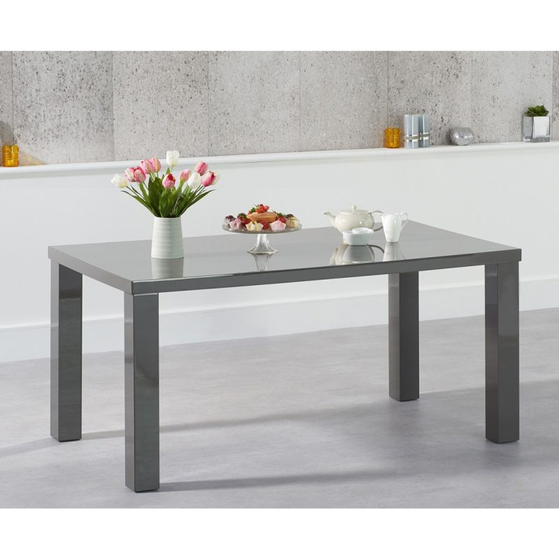 Luna Dark Grey Gloss Dining Table 4 Sizes Available