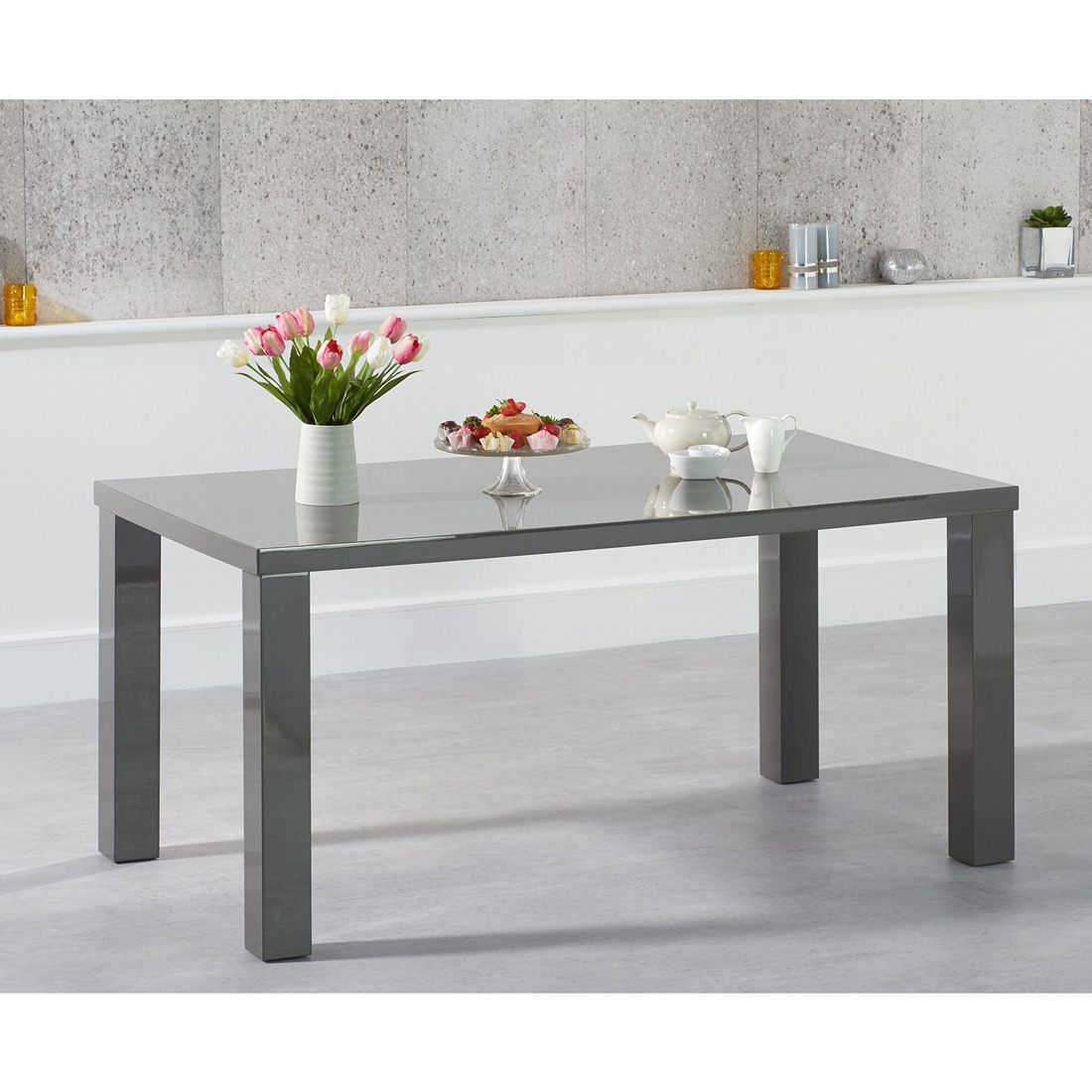 Luna Dark Grey Gloss Dining Table - Rectangular 120 - 200 cm Solid Hardwood (Size: Small Table 120 cm)