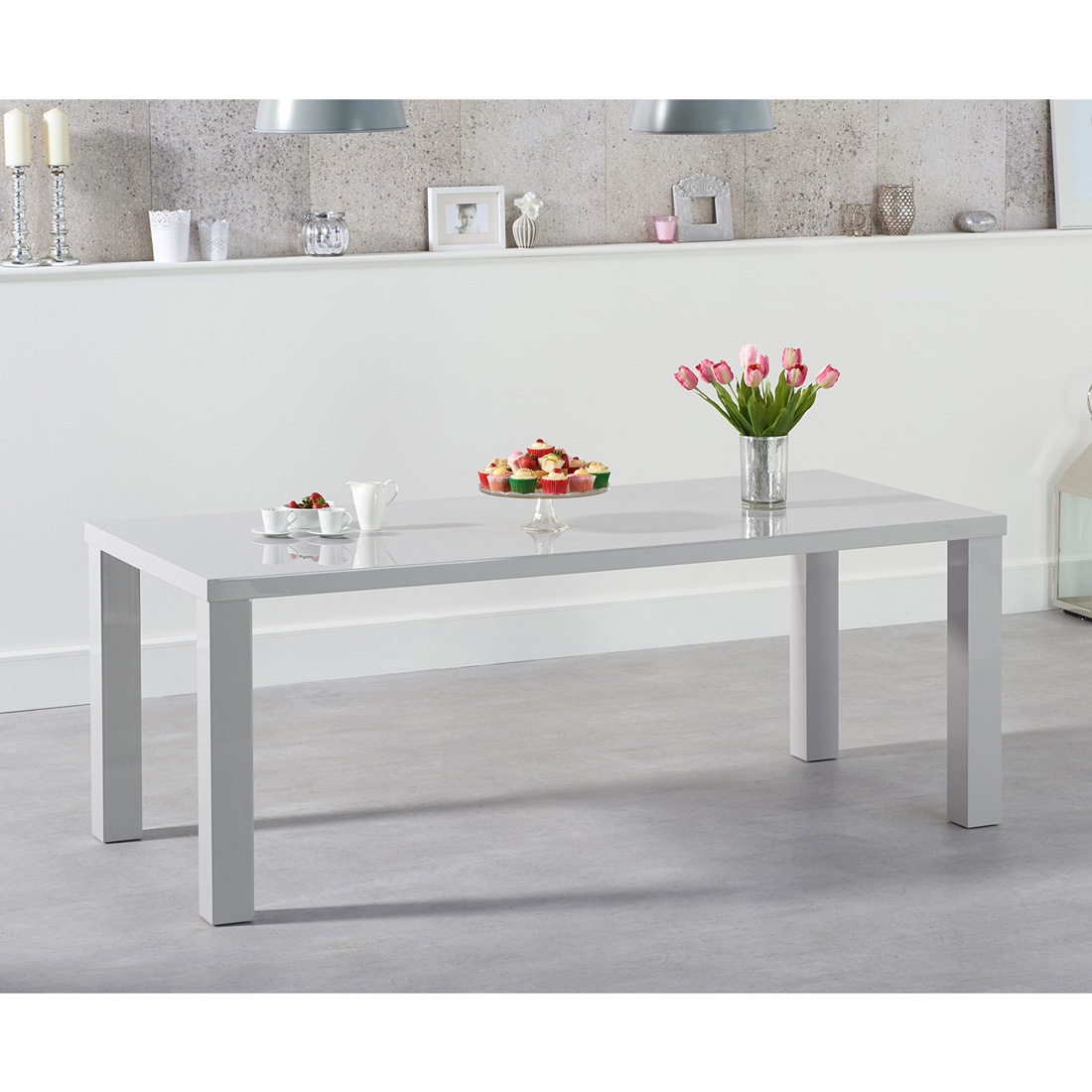 Luna Light Grey Gloss Dining Table - Rectangular 120 - 200 cm Solid Hardwood (Size: Small Table 120 cm)