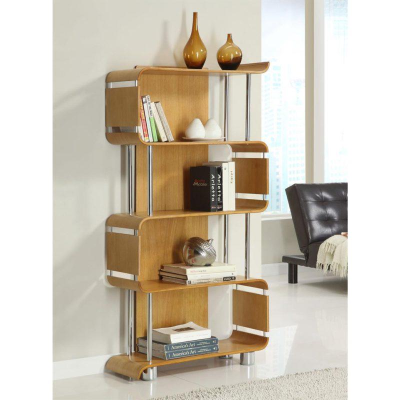 bali oak bookcase room setting