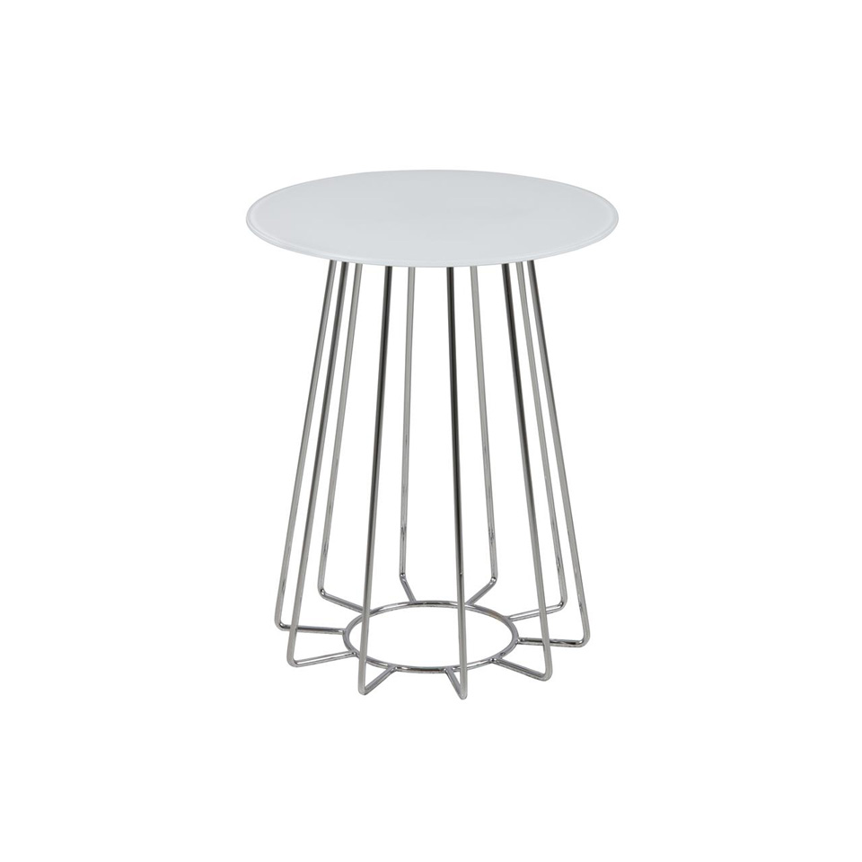 casia white glass lamp table wire base
