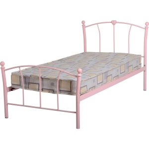 cailtin pink single metal bed frame