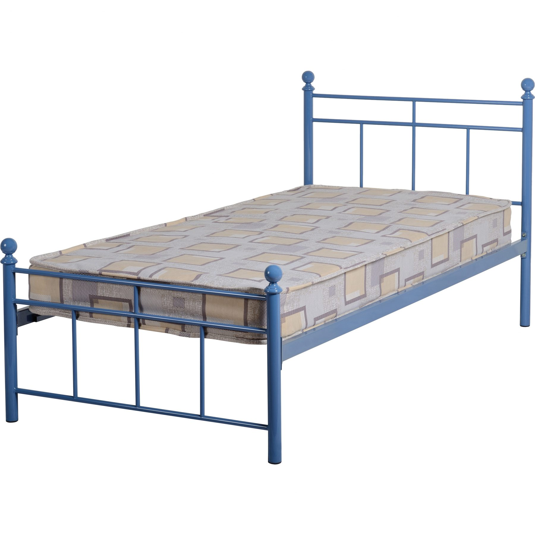 callum blue bed frame single metal with wooden slats