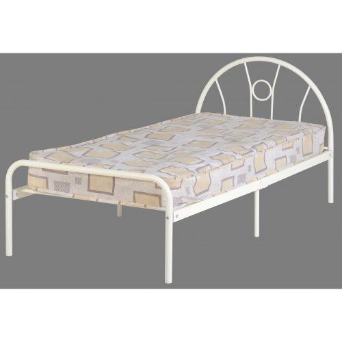 nova white metal bed frame single