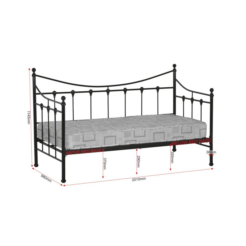 Torino black day bed dimensions