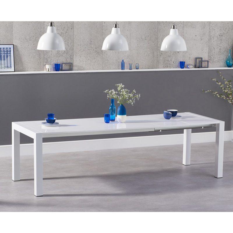 Henry extending white high gloss 6-10 seat dining table 174-264 cm