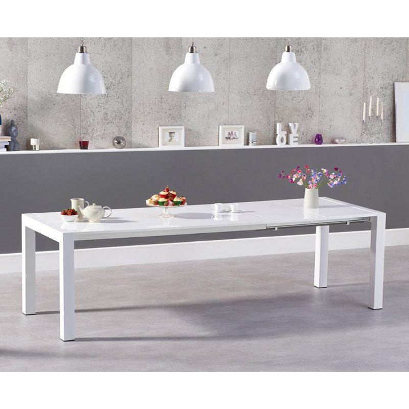 Henry extending white high gloss dining table 174-264 cm