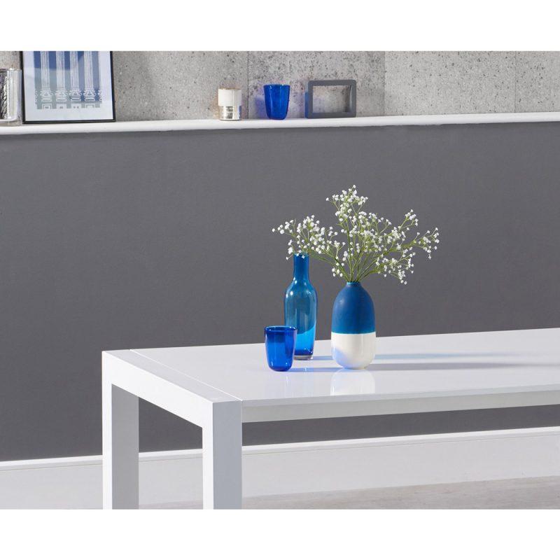 Henry extending white high gloss dining table 174-264 cm detail