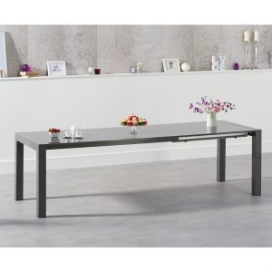 Henry extending dark grey high gloss dining table 174-264 cm