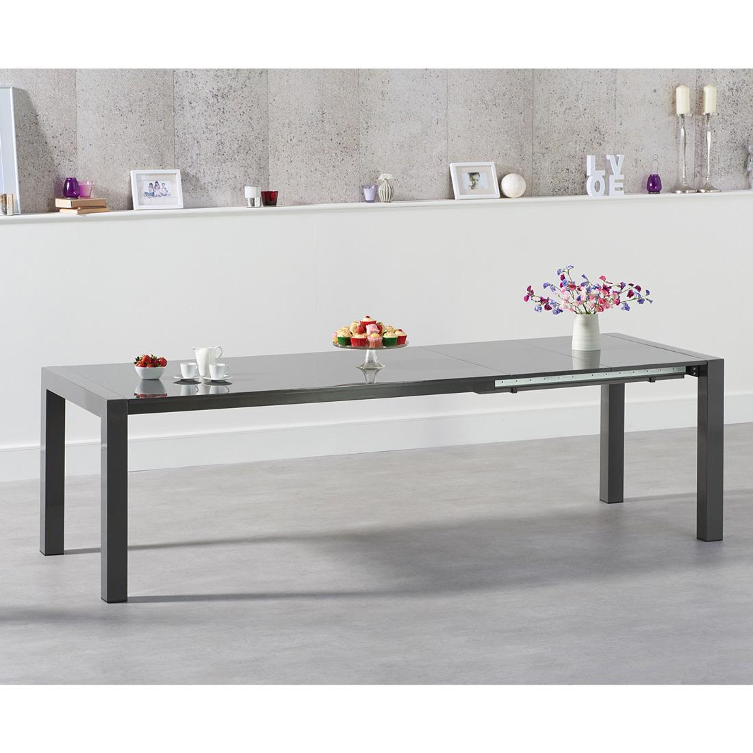 Jamie Extending Rectangular Dining Table Dark Grey Gloss - 6 to 10 seat
