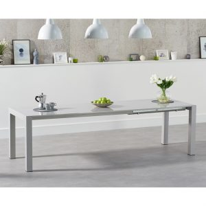 Henry Rectangular light grey gloss dining table 6-10 seat