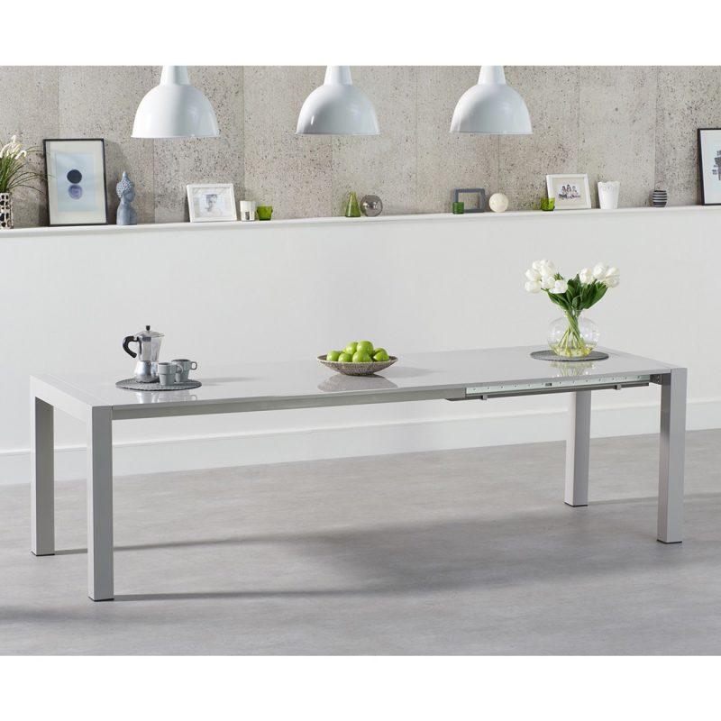Henry Rectangular light grey gloss dining table 6-10 seat