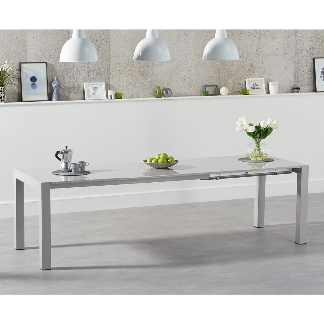 Jamie Extending Rectangular Dining Table Light Grey Gloss - 6 to 10 seat