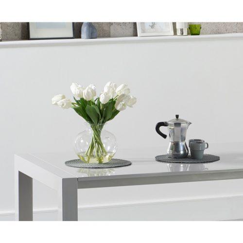 Henry Rectangular light grey gloss dining table 6-10 seat detail