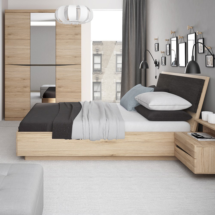 Metro Double Ottoman Bed Frame Oak Finish
