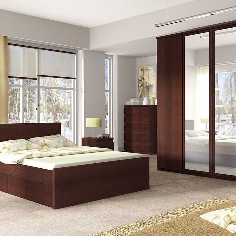 Pello Mahogany Bed With Drawers Bedroom