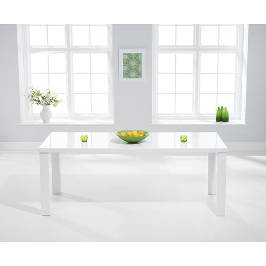 Luna White Gloss Dining Table - Rectangular 120 - 200 cm Solid Hardwood (Size: Small Table 120 cm)
