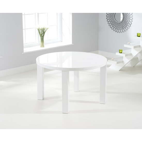 Luna round dining table white gloss 120 cm 4 seat fads for 120 round table seats how many