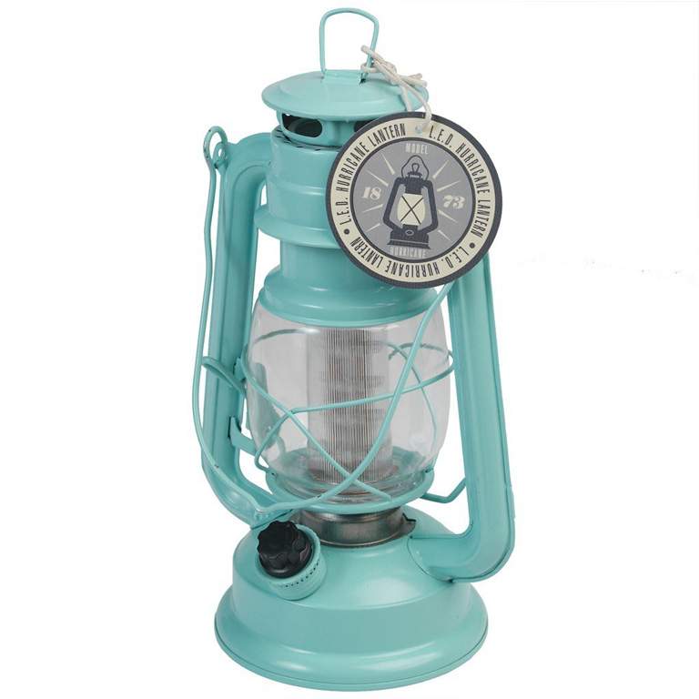 Blue LED Hurricane Lamp
