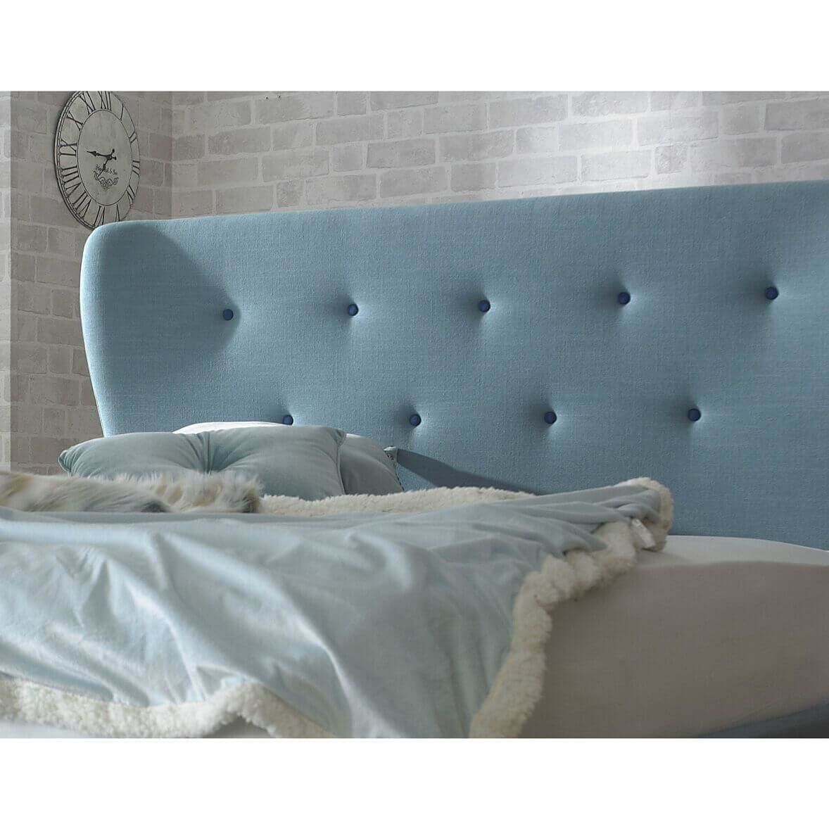 Camille Duck Egg Blue Fabric Bed Frame Headboard