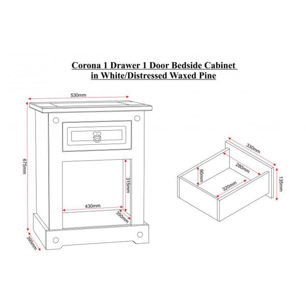 Corona White Bedside Cabinet Dimensions