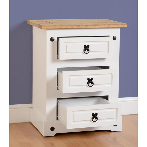 Corona White bedside chest 3 drawer open