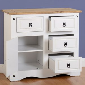 Corona White Sideboard Open
