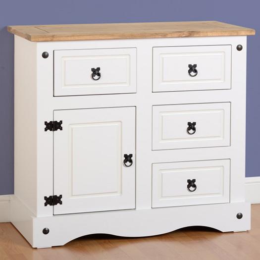 Corona 1 Door 4 Drawer Sideboard In White/Pine