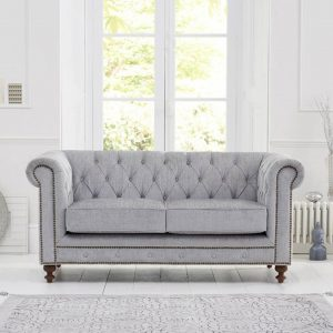 Juliette Grey Fabric 2 Seater Chesterfield Sofa