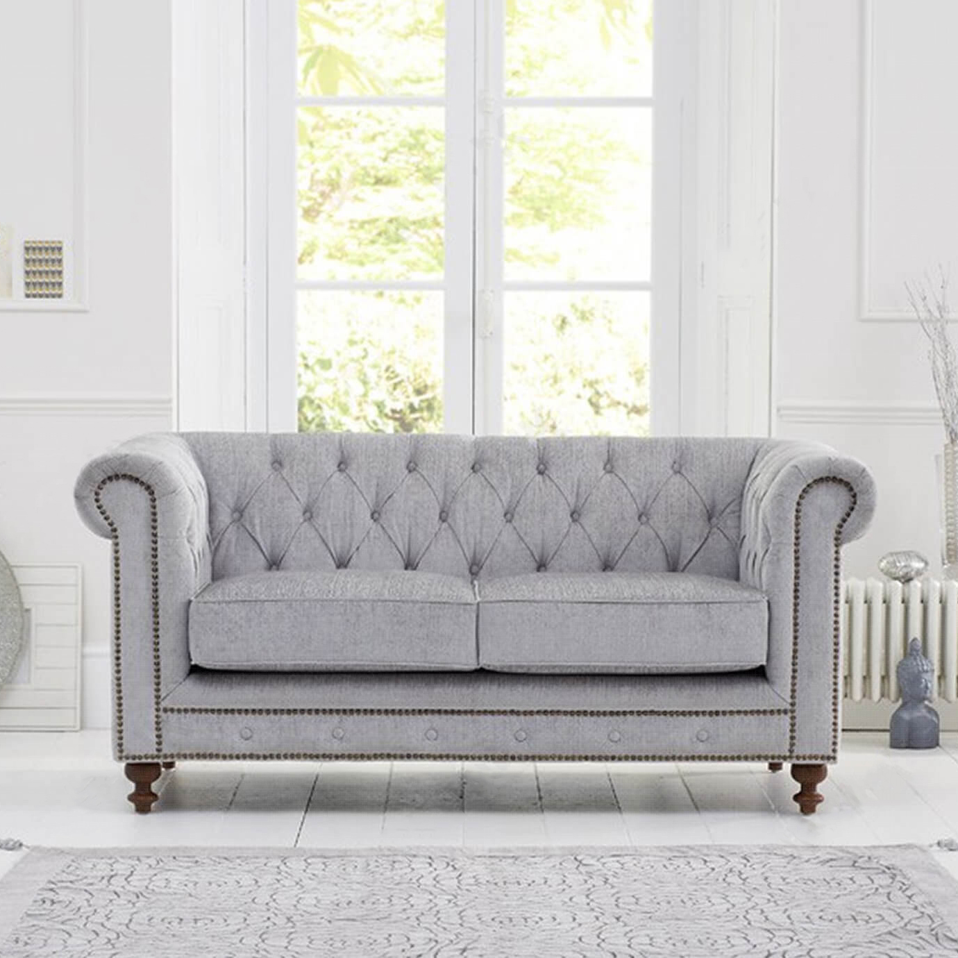 Montrose Grey Fabric 2 Seater Chesterfield Sofa