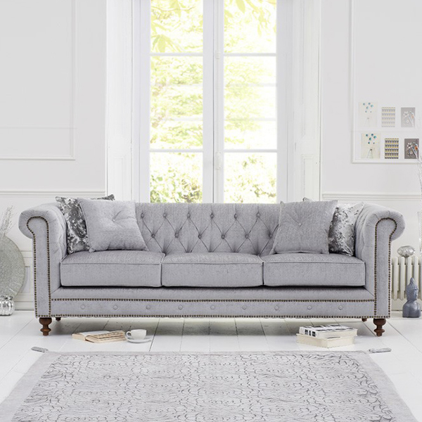 Juliette Grey Fabric 3 Seater Chesterfield Sofa