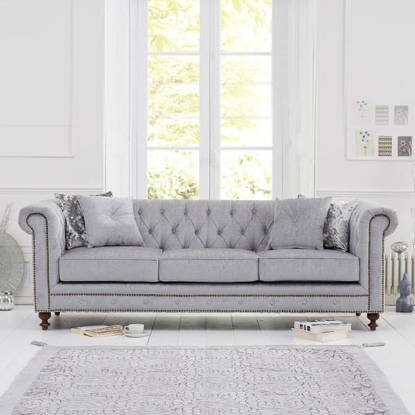 Montrose Grey Fabric 3 Seater Sofa